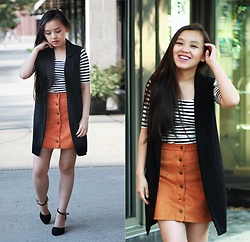 MC Y -  - Striped top & Suede Skirt