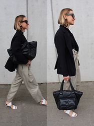 Anna Borisovna - H&M Blazer, H&M Pants, Zara Bag, Zara Shoes, Céline Sunglasses, Mango Earrings - Black & Khaki