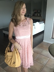 Cindy Batchelor - Chic Pink Lace Sleeveless Dress - Chic Blush Lace Sleeveless Dress
