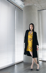 Gi Shieh - Canal Street Markets Silver Rectangular Earrings, Divided Lightweight Trenchcoat, Divided Floral Flounced Wrap Dress, A.So Pointed Black Pumps - Sup
