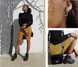 Yara Snow'z - Bershka Black Ribbed High Neck Sweater, Pull & Bear Yellow Textured Pencil Skirt, Bershka Black Boots - Wild & Whatever