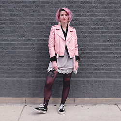 Jessie Bee - Bagail Clear Backpack, Ann Demeulemeester Lace Tunic Tee, Skagen Anita Gold Mesh Watch, Ettika Daydreamer Tassel Earrings, Zara Pink Leather Jacket, Levi's® Black Trucker Jacket, Vans Old Skool Lace Ups - Laced Up