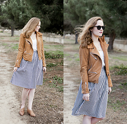 Emily S. - Lulu's Suede Jacket, Forever 21 Midi Skirt, Vintage Necklace, Civion Sunglasses, Free People Royale Flats - Striped Midi & Camel Jacket