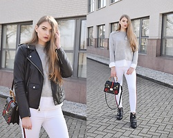 Paulina Kędzierska - White Jeans, Sweater, Black Biker Jacker, Black Bag, Missguided Black Ankle Boot - White jeans
