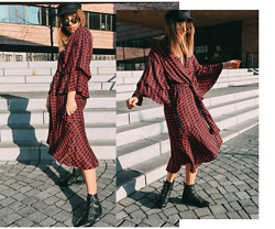 Sarah Spe - Zara Dress, Sacha Shoes Boots, Mango Baker Boy Hat - Midi Dress