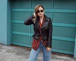 Sarah Spe - Zara Leather Jacket, H&M Blazer, Bershka Denim, Shop Isabelli Sunnies - Belted Leather Jacket