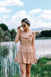 KENDALL SANCHÈZ - Tobi Sienna Beaded Cropped Top, Tobi Free To Be Sienna Beaded Skater Skirt, Follow My Blog :) - .A Nightmare in Beige.