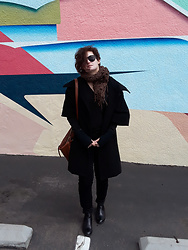 LogicFree - Zerouv Sunglasses, Express Coat, Lucky Brand Bag, Not Your Daughter's Jeans, Aldo Boots - My grungy scarf