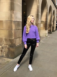 Bec Oakes - Violet Jumper, Belt Bag, Vinyl Trousers, Dad Trainers - Purple Reign