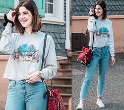 Nina Wirths - Brandy Melville Usa Jumper, Sacred Hawk Bag, Weekday Jeans, Converse Shoes, Topshop Bracelet, Cluse Watch - Cali Girl