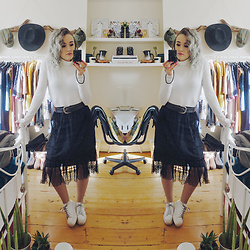 Alex MacEachern - Primark White Turtle Neck Top, Boohoo Black Mesh Tulle Midi Skirt, Everything 5 Pounds White Platform Trainers - Follow My Lead.