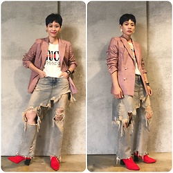 Joyce Chang - R13 Denim Layers Jeans, Zara Red Ankle Boots - Cool girl