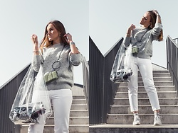 Aiste Mondayjazz - H&M Sweater, Zara Clutch Bag, Lindex Plastic Bag, Reserved Jeans, Reebok Sneakers - OOTD: white & silver & plastic