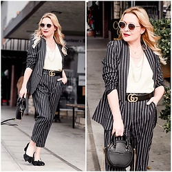 Zia Domic - Thacker Nyc Striped Suit, Rebecca Minkoff Circle Bag - Stripes All Day