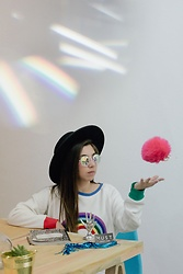 Karen Cardiel - Pays Rainbow Sweatshirt, Holes Eyewear Kaleidoscope Sunglasses, H&M Black Hat - Magic
