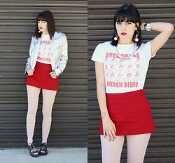 Lexi L - Ebay Stereolab Shirt, Zara Red Skort, Silver Faux Leather Jacket, Hue Pale Pink Tights, Dr. Martens Oxfords - French Disko