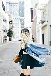 April C. - Pacsun Denim Skirt, Surrender The Label Bag, Forever 21 Denim Jacket - Maiden Lane