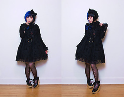 Lovely Blasphemy - Black Peace Now Blouse, Double Decker Black Rocking Horse Shoes, Angelic Pretty Holy Lantern Jumperskirt, Black Peace Now Crown Necklace, Gothic Lolita Wigs Black And Cobalt Split Bob Wig, A.Li.E Tights - Nevermore...