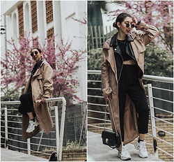 Theoni Argyropoulou - Zaful Trench Coat, Pull & Bear Faux Leather Jacket, Zara High Waisted Trousers, Reebok Instapump, Mango Bag - Longline Trench Coat on somethingvogue.com