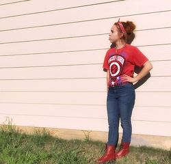 Emily Elizabeth - Thrift Vintage Tee, Forever 21 High Waisted Jeans, Thrift Red Combat Boots - Like An American