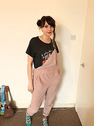 Maddie C - Topshop Dungarees, H&M Space Top - Pink Dungarees & Milkyway
