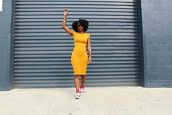 Samjah Iman -  - Bodycon Dress + Red Leather Chuck Taylors