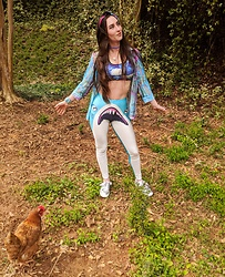 "Tia - 90s Sheer Pastel Blouse, Starry Night Sports Bra, Aliexpress Sharky Leggings, Tj Max Silver Shoes - Spring is nature's way of saying ""LET'S PARTY"""
