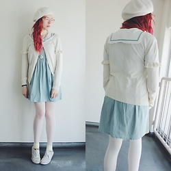 Candy Thorne - F.I.N.T Sailor Dress, Thrifted Ruffle Cardigan - Sailor sweetheart