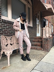 Margarita Ko - Glamorous Jeans, Glamorous Jacket, Cotton On Cap, Pretty Little Thing Bodysuit, Dr. Martens Boots - All Pink Everything