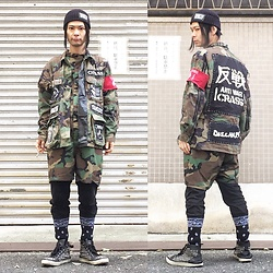 @KiD - Antiwar Beanie, Diy Remake Camouflaged Jacket, Rothco Camouflaged Jump Suits, Harris Brown Studded Sneakers - JapaneseTrash347