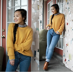 MC Y -  - Casual Outfit || Yellow Sweater & Brown Boots