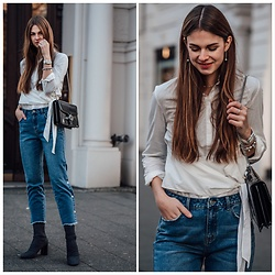 Jacky - Vila Mom Jeans, Zara Shoes, Vila Shirt, Gucci Bag - Fashion Advice: denim with button down detail