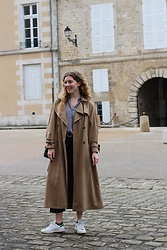 Holly Read - Oversized Trench Coat, Stan Smith Trainers, Black Cropped Flared Jeans - #LovedClothesLast
