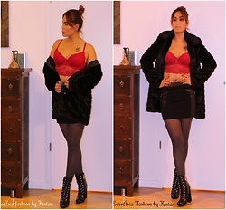 Kintan T - C&A Lace Bra, Orsay Black Fur Coat, New Look Black Leather Skirt, Zara Boots - FASHION DIVERSITY