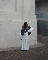 Kay Lai - & Other Stories Sweater, Céline Crossbody, Helmut Lang Jacket, Joseph Maxi Dress - Maxi dress and sneakers