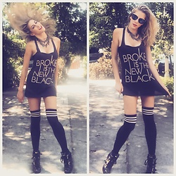 Korbi Kay Blanchard - Truly Madly Deeply Broke Is The New Black Tank, Hot Topic High Striped Socks, Michael Kors Wedge Sneakers, Somewhere On Melrose Cone Necklace, Wanelo Sunglasses - Cheap Chic