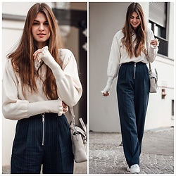 Jacky - Asos Pants, Shoes Of Prey, 3.1 Phillip Lim Bag, Minimum Pullover - How to wear: pinestripe pants with zipper details