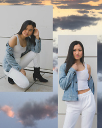 Nydia Piao - Levi's® Denim Jacket, Urban Outfitters Netted Tank Top, Uniqlo White Sweats - A Breath of Fresh Air - How to Pair an All White Outfit