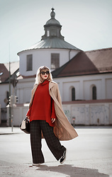 Esra E. - New Look Camel Trench Coat, Zara Checked Wide Pants, Furla Two Tone Leather Bag - Red