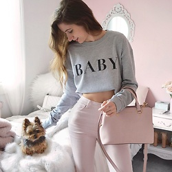 Tia Mcintosh - Misspap Baby Crew Neck, Forever 21 Pink Jeans - Baby bear