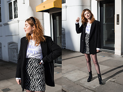 Hannah Louise - & Other Stories Black Wool Blazer, Weekday 'Bad Habits' Longsleeve, Nasty Gal Zebra Print Skirt, Topshop Patent Cowboy Boots - Zebra Print Mini Skirt