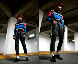 Dominic Grizzelle - Pacsun Stripe Color Block Shirt, Barney Cools Patch Denim, T.U.K. Footwear Iridescent Pointed Creeper - Spring Up with Pacsun