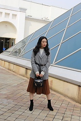 Seoha Park -  - PLAID BLAZER AND LEATHER PLEATED SKIRT