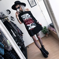 Kimi Peri - Choker, Demonia Assault 100 Platform Boots, Solrayz Moonstone Necklace, Skoot Apparel Fishnet Tights, Killstar Sigil Fedora Hat, Witch Worldwide Rune Glasses, Killstar Look Into My Eyes Oversized Tunic - Marilyn Manson