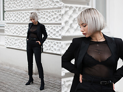 MONIKA S - High Waist Belted Pants, Floral Lace Cup Bra, Mesh Blouse, Stretch Fabric High Heel Boots, Leather Mini Clutch, Tuxedo Blazer - SMOOTH OPERATOR