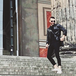 Anthony S. - Topman Black Denim, Vintage Leather Jacket, M0851 Leather Satchel, Converse White Sneakers - Black in Berlin