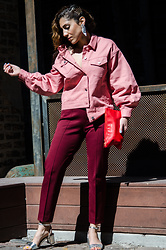 Christina N -  - Pink Colored Denim Jacket with Maroon Pants