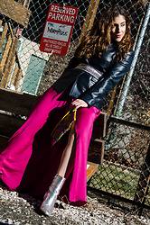 Christina N -  - Navy Blazer with Fuchsia Satin Maxi Skirt & Silver Boots