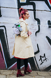 Evilish Queeny - Second Hand Trench Coat, Zara Red Patent Boots, Comicon Totoro Fluffy Backpack - Totoroooooooo