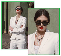 Wiktoria Celmer - Marie Lund Via Van Graaf White Suit, Karl Lagerfeld Necklace - SPRING WITH VAN GRAAF